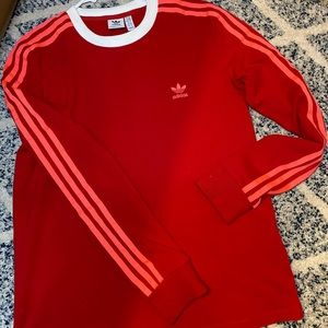 Adidas women adicolor pink three stripes long sleeve t-shirt in red